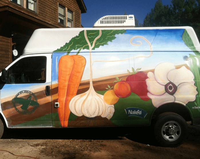 """Burge Organic Farm Van"" Mural 2013 - 9 x 16 foot. Burge Organic Farm Delivery Van - painted with community at the Peachtree Road Farmer's Market. Funded by Naked Juice Company."
